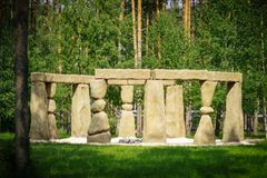 Stonehenge in the Russian Park. The English equivalent of Stonehenge in the Russian forest nature Park royalty free stock photos