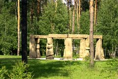 Stonehenge in the Russian Park. The English equivalent of Stonehenge in the Russian forest nature Park stock photo