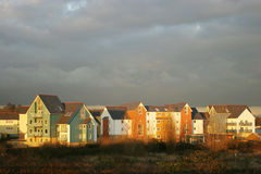 English Estate Houses at Dusk. Evening light on Row of english houses Royalty Free Stock Photo