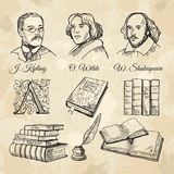 English famous writers and different books stock illustration