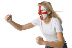English fan. Young screaming English fan with painted flag on face. White background, side view Royalty Free Stock Photos