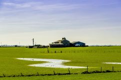 English farm and farmland after floods. Royalty Free Stock Photos