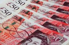 English fifty pound notes. Close up of English sterling fifty pound notes, England, UK, Western Europe Stock Photo