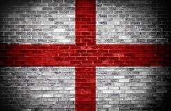 English flag over brick. Stock Photo