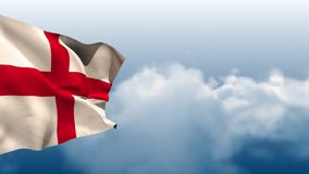 English flag waving in the wind with a sky background. Digital animation of an English flag waving against a bright cloudy sky background royalty free illustration