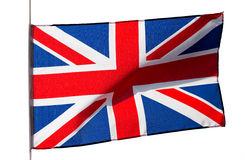English flag in wind on white background stock image