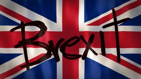 English flag with the word Brexit, ideal footage to represent the concept of abandonment of the European Union. UK vector illustration