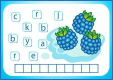 School education. English flashcard for learning English. We write the names of vegetables and fruits. Words is a puzzle game for. English flashcard for learning stock illustration