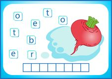 School education. English flashcard for learning English. We write the names of vegetables and fruits. Words is a puzzle game for. English flashcard for learning vector illustration