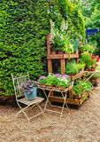 English flower shop in the park Royalty Free Stock Photography