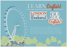 English Flyer Template. Background With London Eye View Stock Photo