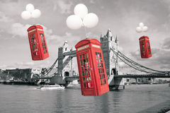 English flying phone booths Royalty Free Stock Image