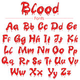 English font in blood texture. Illustration of set of English font in blood texture Royalty Free Stock Photos