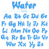 English font in water texture. Illustration of English font in water texture Royalty Free Stock Photos