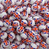 English football balls (many). 3D render background. English football balls (many) blue, red, white. 3D render background stock illustration