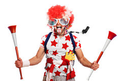 English football fan. In a red wig and horns Stock Photos