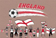 English football fans cheering with England flag colors in front. Of soccer ball graffiti. All the objects are in different layers and the text types do not vector illustration