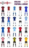 English Football League Generic Kits. Set of English Football League Generic Kits stock illustration