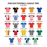 English Football League Two jerseys 2016 - 2017 vector icons set Royalty Free Stock Photography