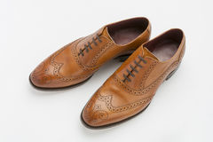 English Full Brogue Brown Shoes Royalty Free Stock Photos