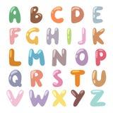 English funny cartoon alphabet vector illustration. Royalty Free Stock Images