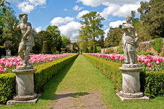 An English garden. In spring. Garden belongs to National Trust stock image