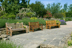 English garden benches. Essex UK Royalty Free Stock Photos
