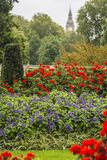 English garden and Big Ben clock Tower in the background. London Royalty Free Stock Photo