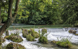 English Garden / Englischer Garten waterfall munich germany.  royalty free stock photography