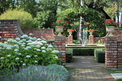 English  garden with a fountain Royalty Free Stock Images