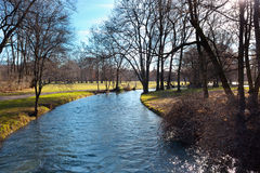 English Garden of Munich in Bavaria in the autumn Stock Photo