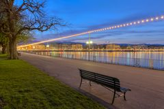 English garden promenade, Geneva, Switzerland, HDR Royalty Free Stock Images