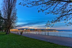 English garden promenade, Geneva, Switzerland, HDR Royalty Free Stock Images