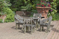 English garden table. And chairs, garden patio Royalty Free Stock Image