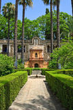 English gardens of the Alcazar Palace. Seville, Spain Royalty Free Stock Image
