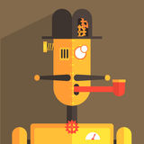English Gentleman Robot Character. Portrait Icon In Weird Graphic Flat Vector Style On Bright Color Background Stock Photo