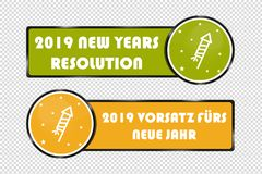English And German New Years Resolution 2019 Buttons - Square And Circle Vector Illustration - Isolated On Transparent Background vector illustration