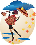 English girl in checkered coat Stock Images