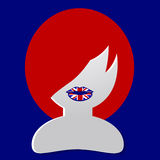 English girl. Icon of girl with flag Royalty Free Stock Photography