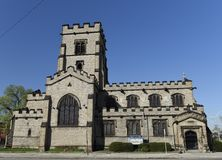 English Gothic Church In Detroit. This is a Spring picture of the historic Trinity Episcopal Church located in Detroit, Michigan in Wayne County. The Church was stock photography