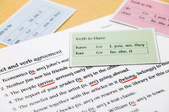 English grammar exercise on table Stock Photos