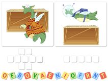 Free English Grammar With Green Dragon Crossword Royalty Free Stock Image - 140722356