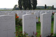 English graves at Tynecote cemetery, Belgium Stock Photography