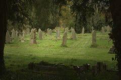 English graveyard. In slight sun light Stock Photo