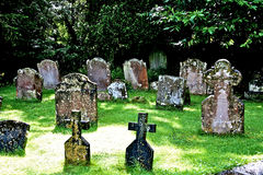 English Graveyard in Wiltshire UK. Ancient English graveyard in Wiltshire countryside Stock Photography