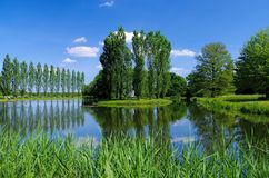 English Grounds of Woerlitz Rousseau island Royalty Free Stock Images