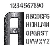 English grungy alphabet and numbers Stock Image