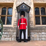 English Guard Soldier Patrolling In London Stock Photo