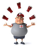 English guy with beers. Fat kid, 3d generated picture of a big english guy Stock Photos