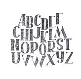 English hand drawn abc from a to z. Capital font made with nib and serif, decorated hatch alphabet, painted freehand. Isolated on. White background illustration vector illustration